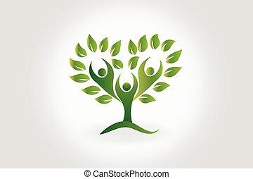 Logo tree with leafs teamwork people symbol