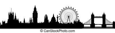 London skyline - Big Ben, London Eye, Tower Bridge, Westminster - vector