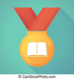 Long shadow gold medal with a book
