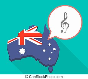 Long shadow map of Australia with a g clef
