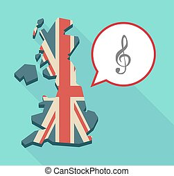Long shadow United Kingdom map with a comic balloon and a g clef