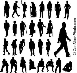 Illustration of lots of men and women and old people silhouettes