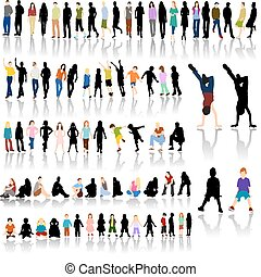 Lots of Colorful People with Silhouettes and Shadow Reflections