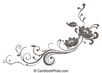 drawing of grey flower pattern in a white background