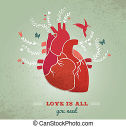 Love background with heart and flowers, Valentines
