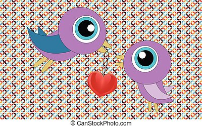 love birds with hearts and kissing