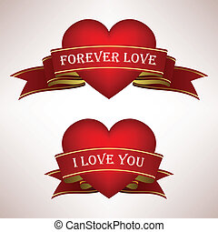 Love Heart Ribbon Scroll