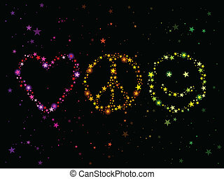 Constellations forming love, peace and happiness symbols