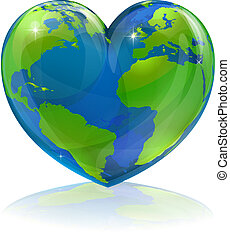 A conceptual illustration for loving the world, the globe in the shape of a love heart. Could be used for environmental or travel and tourism related themes.