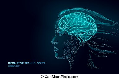 Low poly abstract brain virtual reality concept. Female woman profile mind imagination dream. Modern vector illustration active thinking process. Human extra mental health. Virtual assistant girl AI