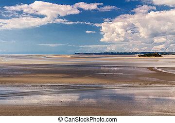 Low tide at Mont-Saint-Michel, Normandy, France