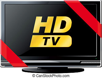 Modern LSD HD TV with a red ribbon and the words HD isolated on white