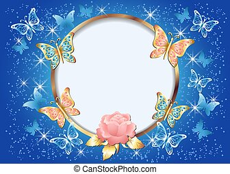 Luxurious golden butterflies and rose with decorative ornament and round frame