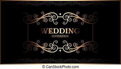 luxury black and gold vintage wedding invitation card