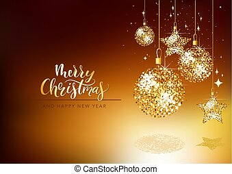 Christmas Greeting Card with Gold Glitter Ornaments