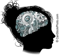 Machine Workings Gears Cogs Brain Woman Concept