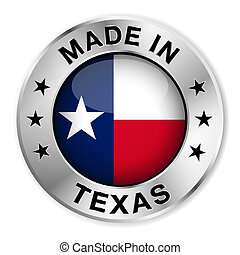 Made in Texas silver badge and icon with central glossy Texan flag symbol and stars. Vector EPS10 illustration isolated on white background.
