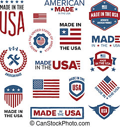 Set of various Made in the USA graphics and labels