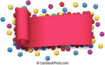 Magenta curled ribbon.