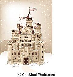 Magic winter Castle invitation car