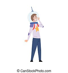 Male Astronaut Wearing Space Suit, Man Playing Quest Reality Game Vector Illustration