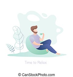 Male hipster with a cup sitting in a chair, relax time