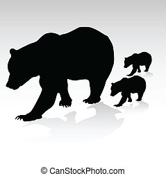 mama bear with their young vector