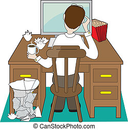 Back view of a man at a desk dealing with problems