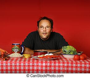 Man at table