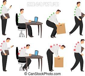 Man improper and correct postures