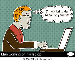 man is working on laptop