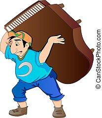 Man Lifting a Piano, vector illustration