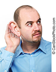 man portrait in listen pose isolated on white background with huge ear