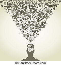 The head of the person consists of objects of science. A vector illustration