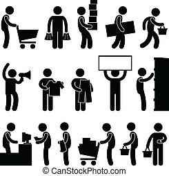 Man People Shopping Cart Queue Sale