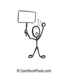 Man prostest with banner. Shout boycott and demand. Hand drawn. Stickman cartoon. Doodle sketch, Vector graphic illustration