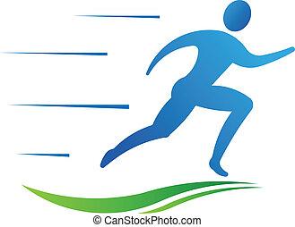 Man running fast. Sport fitness Vector
