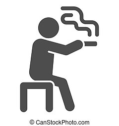 Man sits on bench and smokes solid icon, Smoking concept, Smoking area sign on white background, Sitting smoker silhouette icon in glyph style for mobile and web design. Vector graphics.