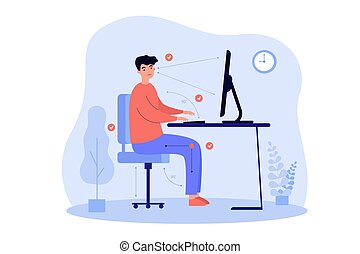 Man sitting at desk in correct position flat vector illustration