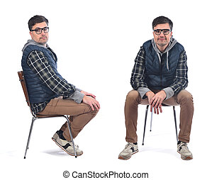 man sitting on a chair in white background
