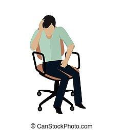 Man Sitting on Armchair