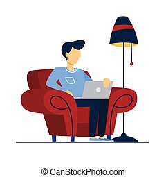 Man sitting on the armchair and working.