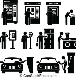 A set of pictograms representing vending machine, ticketing maching, ATM machine, public phone, parking slot, and gas pump.