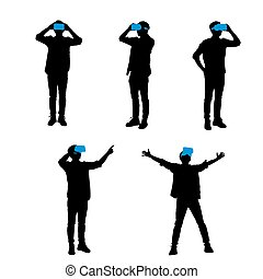 Silhouette of happy man getting experience using VR-headset glasses of virtual reality, full length