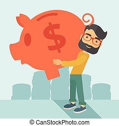 Man with his big piggy bank