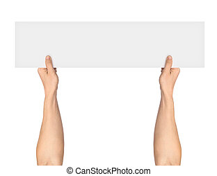 man's hand holding blank paper isolated on white background