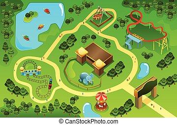 Map of an amusement theme park