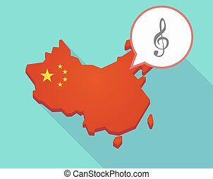 Map of China with a g clef