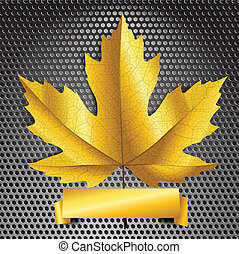 Maple leave with golden banner