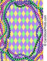Mardi Gras beads background with place for text